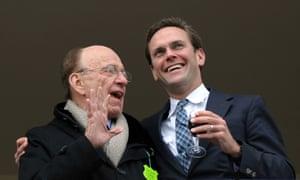 Rupert Murdoch (L) with son James