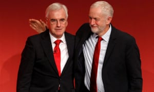 Shadow chancellor John McDonnell, left, is patted on the back by Jeremy Corbyn