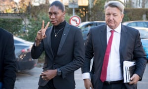 Caster Semenya arrives at the hearing with her lawyer Gregory Nott.