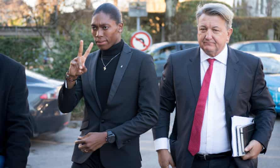 Caster Semenya arrives with her lawyer, Gregory Nott, at the first day of her Cas hearing in Lausanne.