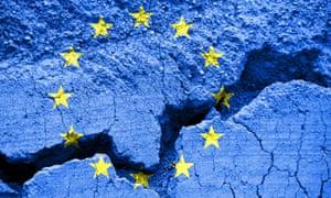 Flag of the  European Union on cracked background