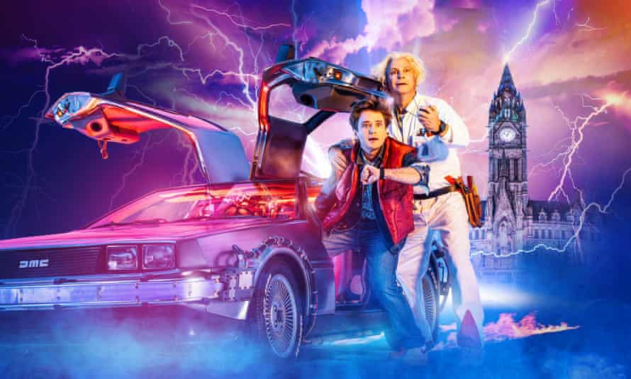 Olly Dobson plays Marty McFly and Roger Bart is Doc Brown in Back to the Future the Musical, at Manchester Opera House.