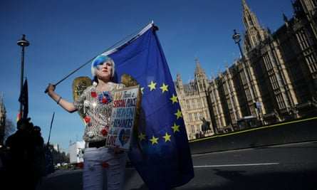 An anti-Brexit demonstrator outside the Houses of Parliament, February 2019.