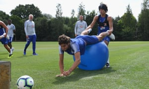 David Luiz and Marcos Alonso during a Chelsea pre-season training session at their Cobham base earlier this month