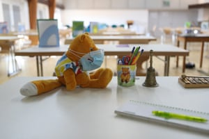 Picture shows a stuffed toy wearing a face mask in an improvised classroom prepared for a primary school class in a recreation hall on 20 February, 2021 in Wessling, Germany.