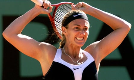 Mary Pierce celebrates after beating Martina Hingis in the semi-final on the way to winning the French Open in 2000.