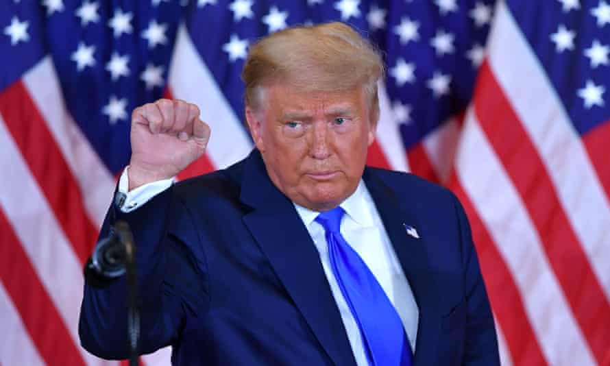 US President Donald Trump pumps his fist after speaking during election night in Washington, DC, early on November 4, 2020.