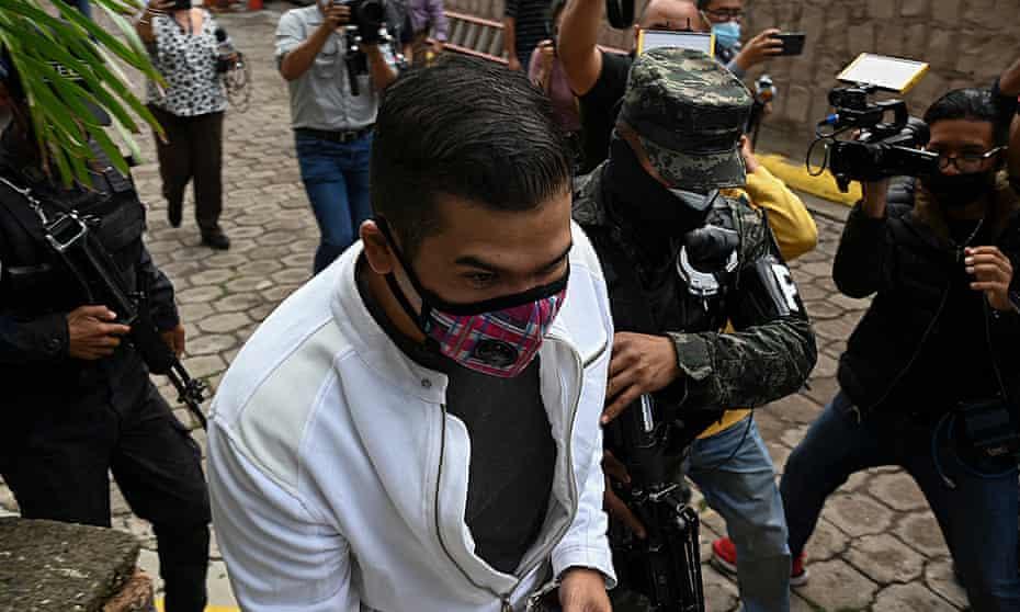 Roberto David Castillo arrives at a court in Tegucigalpa on Monday.