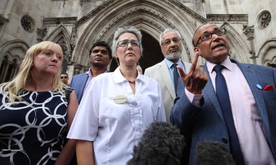 Supporters of Dr Hadiza Bawa-Garba outside the court, including Dr Ramesh Mehta (far right) from the British Association of Physicians of Indian Origin