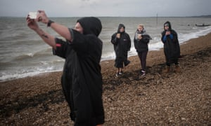 Swimmers dry off at Chalkwell beach