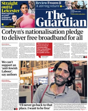 Guardian front page, Friday 15 November 2019