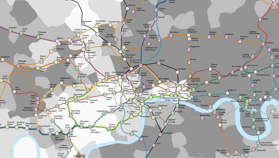 Mapping life expectancy. In the Lives on the Line project, academics at UCL have mapped the average length of life of residents at each tube stop on the Underground network. See the full version here.