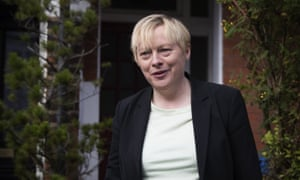 Angela Eagle, the former shadow business secretary, emerges from her home on Wednesday ahead of news that she is to challenge for Labour's leadership
