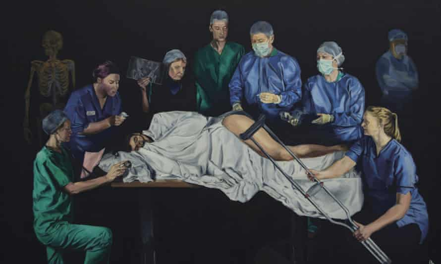 Trauma, by Alastair Faulkner (in green). The artist, a surgeon, was inspired by Renaissance painters.