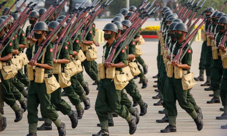 Members of the armed forces on parade during the 76th Armed Forces Day in Naypyidaw on 27 March.