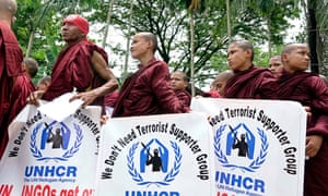 Buddhist monks protest against what they say is UNHCR support for Rohingya militants.