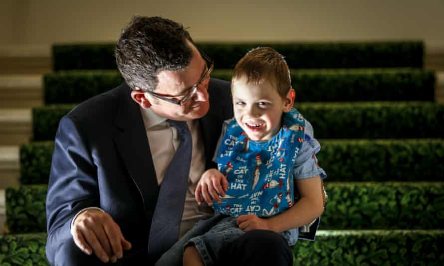 Victoria Premier Daniel Andrews with four-year-old epilepsy suffer Cooper Wallace