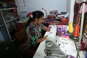 P Consee, in Karambe, Kalpitiya, Puttalam district, at her sewing machine