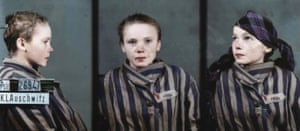 A triple head shot of 14-year-old Czeslawa Kwoka, photographed at Auschwitz: black and white image coloured by artist Marina Amaral