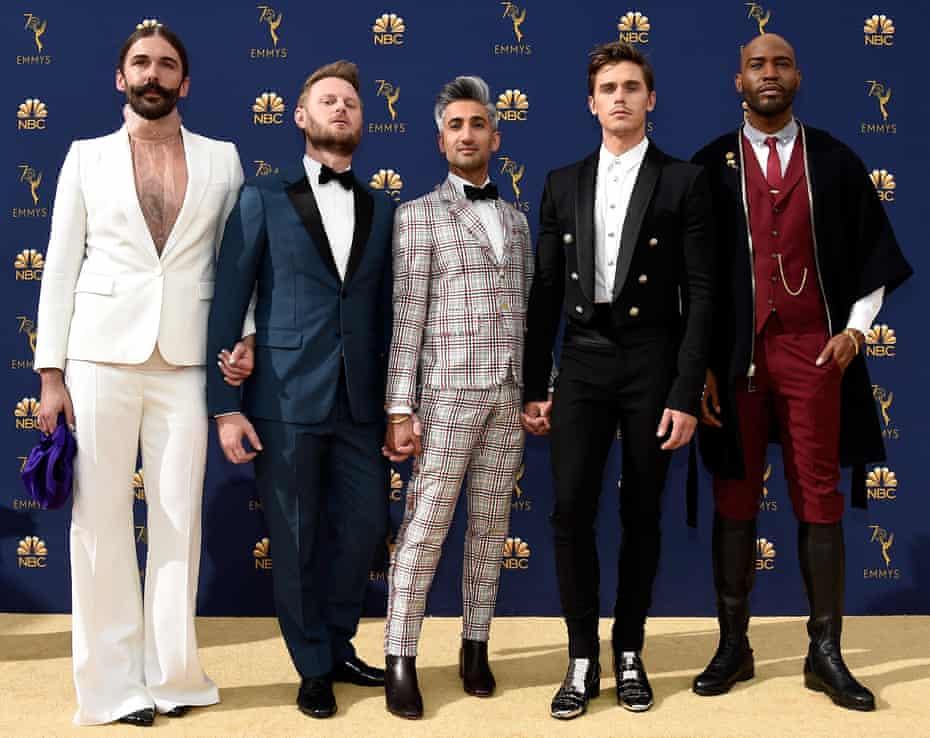 Queer Eye presenters (l-r) Jonathan Van Ness, Bobby Berk, Tan France, Antoni Porowski and Karamo Brown at the 70th Annual Primetime Emmy Awards on September 17 2018.