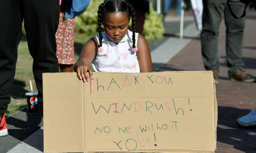 Girl at Windrush protest