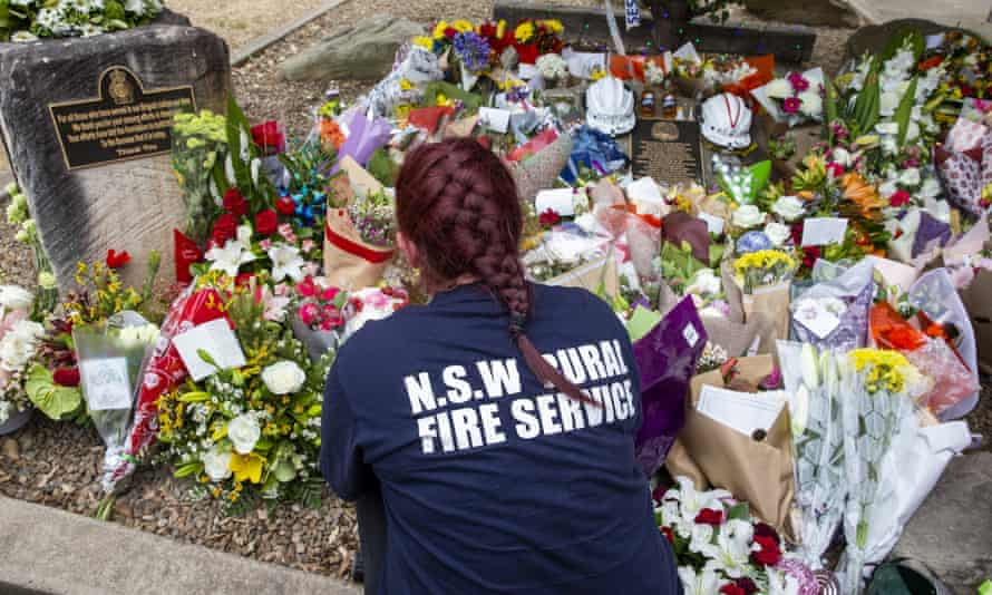 Tributes for Geoffrey Keaton and Andrew O'Dwyer are laid at Horsley Park Rural Fire Brigade