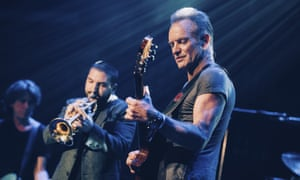 Sting performs on stage at the Bataclan concert hall in Paris