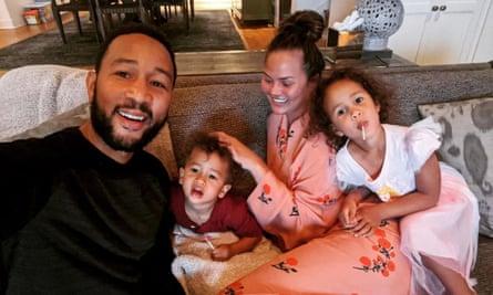 Chrissy Teigen's Instagram snap of her family relaxing during lockdown.