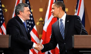 Gordon Brown and  Barack Obama shake hands following a press conference at the Foreign and Commonwealth Office in London, 2009.