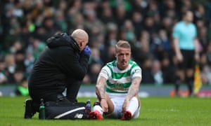 Leigh Griffiths scored for Celtic before being taken off injured in the game against Hibs.
