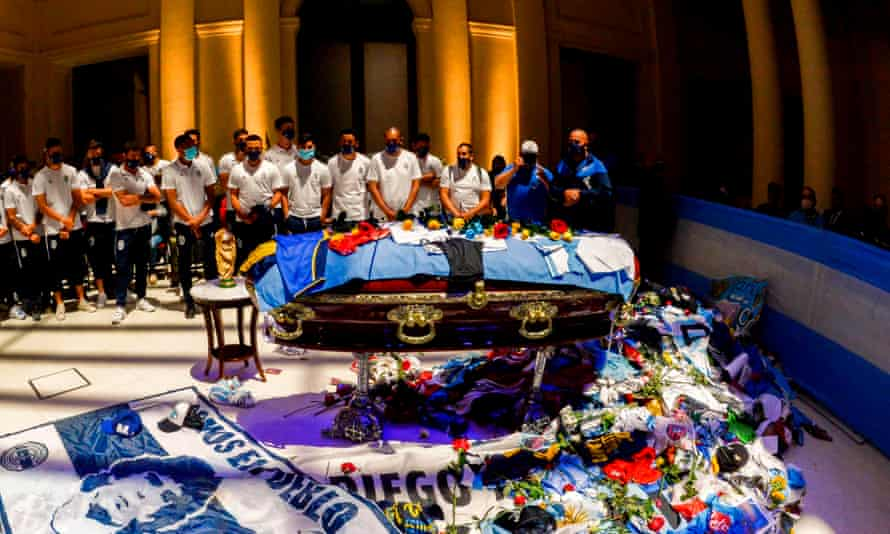 The Argentinian team Gimnasia y Esgrima La Plata pay tribute as the body of Diego Maradona lies in state at the presidential palace in Buenos Aires.