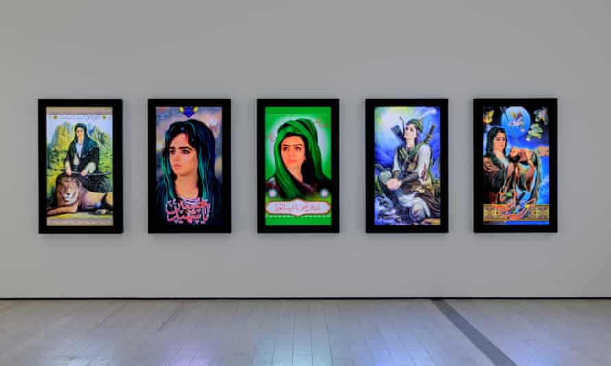 Shoja Azari, Icon #1–5 showing at In the Fields of Empty Days: The Intersection of Past and Present in Iranian Art at LACMA.