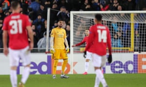 Sergio Romero of Manchester United dejected after getting lobbed.