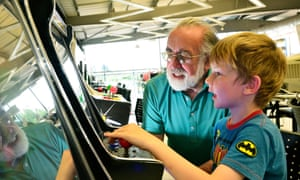 Grandad and grandson enjoy an interactive exhibit at  Snibston Discovery Museum.