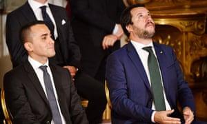 The Interior Minister and League leader Matteo Salvini (right) with the Five Star leader Luigi Di Maio.