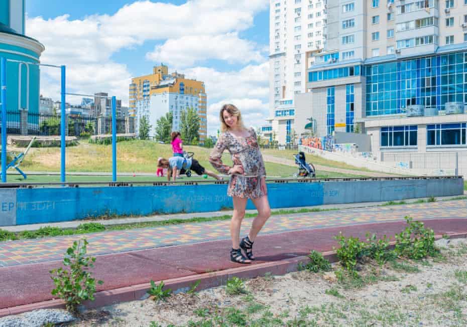 Tatiana, 34, posing in a park in Kiev.