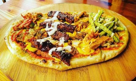 Make No Bones's Hangover pizza.