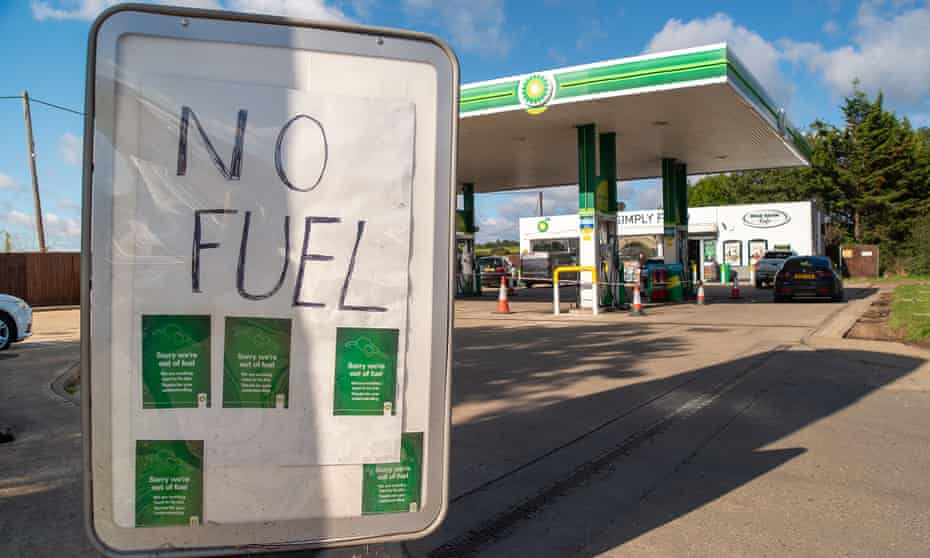 A 'no fuel' sign at a petrol station