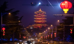 Red lanterns hung in Wuhan ready to mark the start of the lunar new y next month.