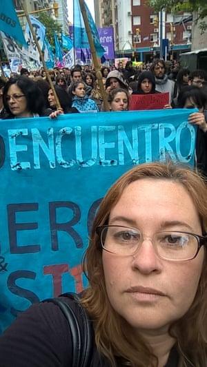 Veronica marching in Mar del Plata, Argentina