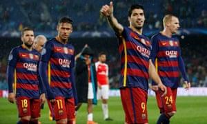 Barcelona's Luis Suarez and Neymar celebrate on their lap of honour.