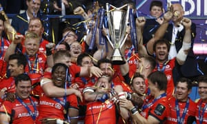 The Saracens players celebrate remaining kings of Europe after their thrilling Champions Cup final victory against Clermont Auvergne.