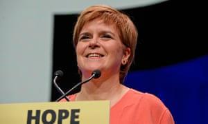Nicola Sturgeon speaking to the SNP conference in Glasgow.