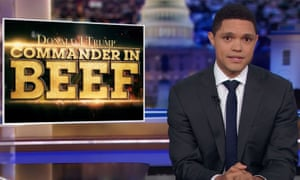 """Trevor Noah: """"There's a possibility that the war in Afghanistan will continue now, because Trump has put a photo opportunity above peace — which, according to WebMD, is a classic symptom of: a pussy ass bitch."""""""