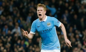 Manchester City's Kevin De Bruyne celebrates scoring their second goal.