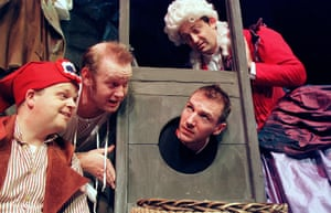 Toby Jones, Sean Foley, Ralph Fiennes and Hamish McColl in The Play What I Wrote at Wyndham's theatre, London, in 2001. Directed by Kenneth Branagh.