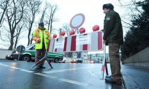 A police roadblock in Augsburg at the site where the unexploded RAF blockbuster bomb was discovered.