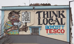 Boycott Tesco graffiti in Stokes Croft, Bristol, where a riot broke out after police engaged with protesters against the opening of the city's 32nd Tesco branch.
