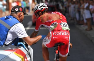 La Covatilla, SpainFrench cyclist Loic Chetout of Team Cofidis receives treatment for injuries caused by a fall during the 208km Talavera de la Reina to Alto de la Covatilla stage nine of La Vuelta.