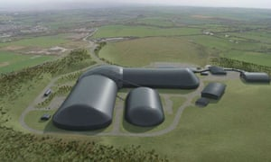 Artist's impression of UK's first deep mine in 30 years despite objections from climate change activists in West Cumbria near Whitehaven.